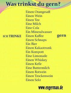 Akkusativ: Was trinkst du gern? German Grammar, German Words, Reflexive Verben, German Resources, Study German, Deutsch Language, Germany Language, German Language Learning, Foreign Languages