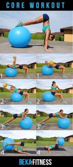 Swiss Ball Core Workout--I can totally see myself doing that handstand. #fitness…