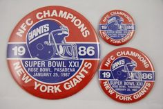 College Hats & More - NFL Pin Set New York Giants 1986 NFC Champions Super Bowl 21 Pasadena