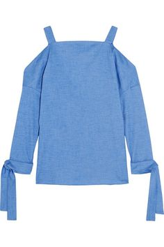 Tibi's top is made from the softest cotton-chambray woven with a hint of stretch that adds to its relaxed feel. Channeling this season's shoulder-baring trend, it has cutout sleeves with wrap-around ties at the wrists.