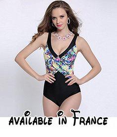 GK-Maillot de bain féminin Bikini Europe en une seule pièce,Wine red,XXL
