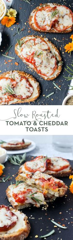 Outrageously sweet, savory, and draped in cheese, these Slow-Roasted Tomato & Cheddar Toasts are delightful for lunch, brunch, or as an appetizer! | snack, easy, summer produce, farmers market, delicious, fresh, comfort food