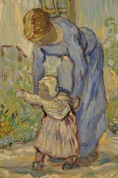 Artwork by Vincent van Gogh - First Steps ( detail ).