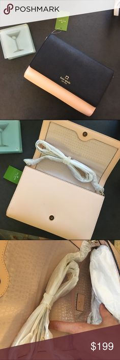 """Kate Spade Two Tone Cross Body 6.5""""h x 9.9""""w x 1.6""""d (in inches) drop length: 22""""  Crosshatched leather 14-karat light gold plated hardware kate spade Bags Crossbody Bags"""