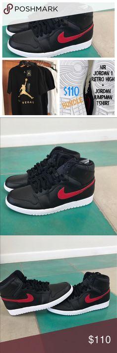 Air Jordan Retro Sneaks + Jordan Tshirt BUNDLE Buy Air Jordan Retro Sneakers for $100 and get a Jordan Tshirt (Black/GOLD) for $10 - Air Jordan Retro Sneaks + Jordan Jumpman BUNDLE - $110 (New Sneakers and Tshirt never worn / NWT) / Sneakers size 11 1/2, Tshirts comes in size L Jordan Shoes Sneakers