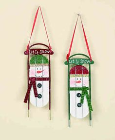 Whether fir, pine or faux, a festive tree deserves a heaping helping of trimmings. Add these snowman ornaments to the collection for eye-catching elements sure to make any holiday home shine. Snowman Crafts, Ornament Crafts, Snowman Ornaments, Christmas Tree Ornaments, Snowmen, Christmas Sled, Christmas Projects, Holiday Crafts, Christmas Things