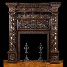 A tall antique Italian Renaissance oak fireplace mantel. Antique Fireplace Mantels, Fireplace Mantle, Fireplace Surrounds, Fireplace Design, Antique Mantel, Mantles, Walnut Furniture, Antique Furniture, Medieval Furniture