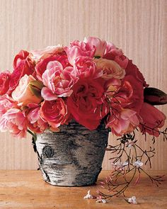 Bark-Wrapped Flowerpots | Martha Stewart Living - Create a rustic, richly textured presentation by planting moss or placing a vase of lush flowers in terra-cotta pots adorned with tree bark.