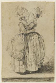 Alexandre Moitte, Mme Elisabeth and Marie-Antoinette, black chalk (Lille)