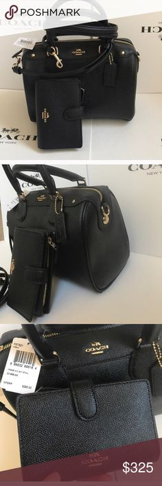 🌸🎀coach bennette set🌸black Both authentic. Brand new with tags. Black color gold hard wear purse strap removable. Beautiful set!! Coach Bags Crossbody Bags