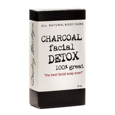 Charcoal Facial Soap DETOX  TRY RECIPE: Olive Oil Part Castor/Part Almond Oil Some sort of Butter (shea?) tea tree oil peppermint