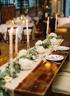 farm table with burlap runner   Loft Photographie #wedding