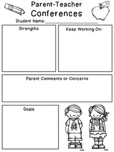 Conference Form Here's a simple little Parent-Teacher Conference form to help you organize your ideas for conference time! :)FORM FORM may refer to: Parent Teacher Conference Forms, Parent Teacher Communication, Teacher Notes, Teacher Stuff, Parent Teacher Interviews, Meet The Teacher, Preschool Classroom, In Kindergarten, Classroom Ideas