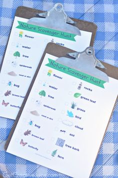 FREE printable nature hike scavenger hunt for kids