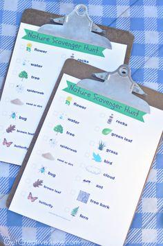 Free Printable nature scavenger hunt for kids