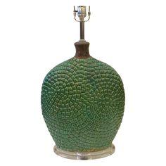 Modern Green Ceramic Lamp on Chairish.com