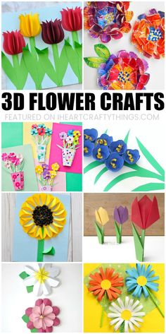 Beautiful 3D Flower Crafts for Kids! A roundup of gorgeous flower crafts ranging from easy to hard that are perfect for kids to make this spring! #flowercrafts #springcrafts