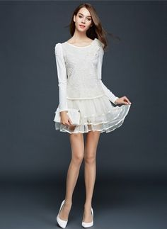 3649d6baeeb3 White Cotton Dress Black Pink White Cotton Polyester Solid Long Sleeve  Above Knee Dresses
