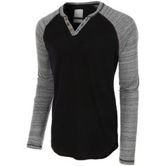 LE3NO Mens Long Sleeve Color Block Crewneck Henley Shirt ❤ liked on Polyvore featuring men's fashion, men's clothing, men's shirts, men's casual shirts, mens extra long sleeve shirts, mens henley long sleeve shirts, mens henley shirts, men's cotton short sleeve shirts and mens crew neck t shirts