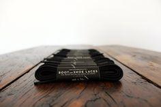 Black Shoe Laces  Fine waxed cotton laces for by BootAndShoeLaces