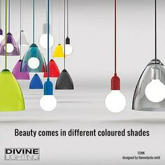 In case you were wondering about the title of this article, it is true – you can Funk your Ceiling Lights with the Nordlux Funk Color Pendants! Why use a large chandelier or a suspension Ceiling Light Shades, Ceiling Rose, Ceiling Lamp, Ceiling Lights, Funky Lamps, Hallway Colours, Large Chandeliers, Contemporary Floor Lamps, Led Floor Lamp