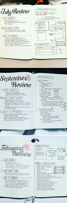 At the end of each month, do a review to see what is or isn't working for you in your bullet journal. Make plans for improvements. Individual posts here: https://www.instagram.com/p/BIXdkx-gG9b/ https://www.instagram.com/p/BK_N-n4A3hD/ https://www.instagram.com/p/BRBbJVkgkhI/