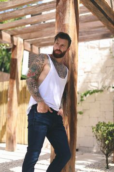 Catching shade at the Men's Fashion Post villa in Tulum in Fight Club, Hairy Men, Bearded Men, Tatted Men, Hot Guys Tattoos, Cool Hairstyles For Men, Sexy Beard, Beard Styles For Men, Inked Men