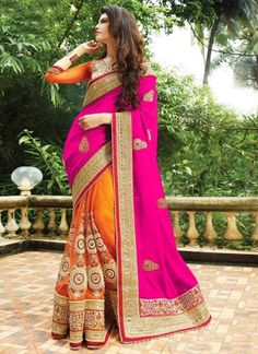 Magenta Orange Embroidery Work Georgette Net Designer Party Wear Half Sarees http://www.angelnx.com/Sarees/Designer-Sarees