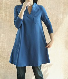 Women Coat Dress/ Cotton Dress/ Fall V collar long shirt by MaLieb, $98.00