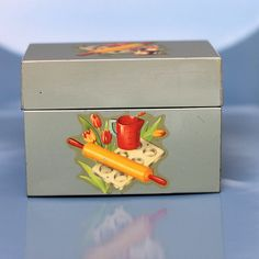 Vintage 50's Metal Recipe Box with Kitchen Utensil by Mercymay, $18.50