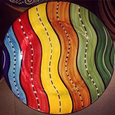 #sberna #art #pottery #ceramics #deruta #madeinitaly #love #handmade #handpainted #handcraft #colours #plate #colorful #drawing #rainbow #wave #fantasy