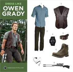 Dress like Owen Grady (Chris Pratt) from the movie, Jurassic World. Get Owen Grady's costume by following this guide.