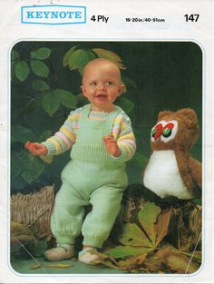 Baby Knitting Pattern  dungarees  jumper / sweater  by Hobohooks