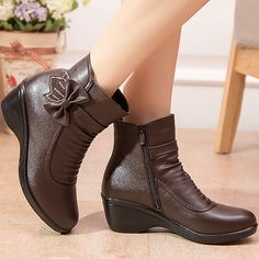 Waterproof women boots female ankle boots 2017 new arrival genuine leather wedges snow boots plush size 35 41-in Snow Boots from Shoes on Aliexpress.com | Alibaba Group