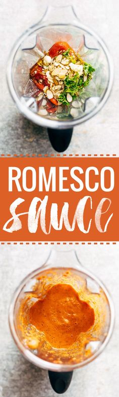 Romesco Sauce! ready in 5 minutes and perfect for serving with grilled chicken, vegetables, crispy potatoes, eggs, and more. Made with roasted red peppers, tomatoes, olive oil, garlic, salt, parsley. vegan / vegetarian. | pinchofyum.com