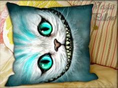 Cojín gato de Alicia en el país de las Maravillas   -   Cheshire Cat Alice in Wonderland Pillow Cover by LASVEGASPILLOW, $14.00