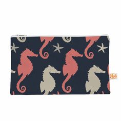"""afe images """"Gray and Coral Seahorses"""" Coral Gray Digital Everything Bag from KESS InHouse"""