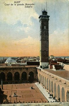 A hand colored postcard showing the minaret of Aleppo's century Umayyad Mosque. The minaret was destroyed during fighting between government forces and the rebels in April Cir. Umayyad Mosque, Aleppo City, 11th Century, Niqab, Middle East, Old Photos, Collections, Photography, Travel