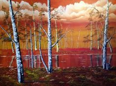 An orange evening sky hovering over a field of birches with a stream running through. Delivery costs for this item will vary depending on your location. The delivery cost stated is an approximate cost. Selling Art Online, Online Art, Find Art, Buy Art, Original Art, Original Paintings, Winter Light, Evening Sky, Artist Gallery