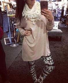 """There's nothing better than a tunic  legging combo...especially when we're wearing THIS tunic :: """"Get Uneven"""" ($42) with an asymmetrical hem and the comfy/stretchy/tie dye/never.want.to.take.them off leggings:: ($19)  And who are we kidding one day very soon it'll be cold enough for this scarf  Gotta  FREE SHIPPING! Call 440.893.9279 or email sales@sanitystyle.com to order or shop instore!  #sanitystyle #sanitychagrinfalls #shoplocal #chagrinfalls #shopchagrinfalls #boutique #freeshipping…"""