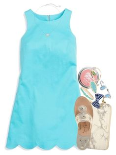 """""""clear skies above"""" by thefashionbyem ❤ liked on Polyvore featuring Southern Tide, Kate Spade, FOSSIL, Jack Rogers, Kendra Scott and Brooks Brothers"""