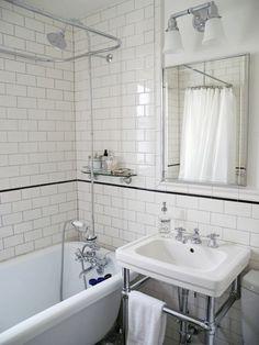 My bathroom) tiny bathrooms, small vintage bathroom, bungalow bathroom, cla Apartment Bathroom Design, Bungalow Bathroom, Design Bathroom, Mold In Bathroom, Tiny Bathrooms, Bathroom Ideas, White Bathroom, 1920s Bathroom, Washroom