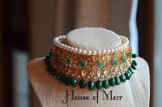 Hyderabadi Guluband (gold plated) with real emeralds and pearls collar/ choker with natural Emeralds and fresh water pearls Real Gold Jewelry, Royal Jewelry, Gold Jewellery Design, Fancy Jewellery, Girls Jewelry, Bridal Jewellery, Jewelry Ideas, Indian Jewelry Sets, Indian Wedding Jewelry