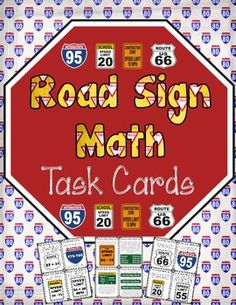 FREE Street Signs Math Task Cards Mini-Set! I was inspired to create this little freebie by a pin I found on Pinterest, where someone had cleverly replaced the speed limit with a complicated math equation. I hope this task card mini-set brings a little bit more fun into your room!