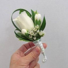 White Rose Boutonniere - Finishing Touch Flower Sealant