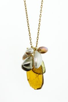 Ten Thousand Things - gemstone cluster pendant, chain