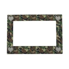 (*sold*)-  #Camouflage #Woodland Forest Heart on #Camo Frame Magnet by #Camouflage4you shipping to Diedersdorf, Germany