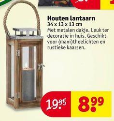 lantaarn houten 34 13 cm metalen decoratie maxi theelichten rustieke  folder aanbieding bij Kruidvat