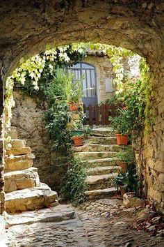 Italy, Liguria, Bussana Vecchia, Entrance to old house Beautiful World, Beautiful Places, Beautiful Pictures, Casa Dos Hobbits, Old Doors, Stairways, Beautiful Landscapes, The Good Place, Places To Go