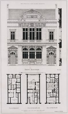 Reproduction of plans and elevation of a Post Office by John Keppie Classic Architecture, Architecture Office, Architecture Drawings, Historical Architecture, Architecture Details, Office Building Plans, Floor Plan Drawing, Elevation Drawing, French Style Homes